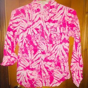 Michael Kors Pink Button Tie Dye Boho Shirt Top